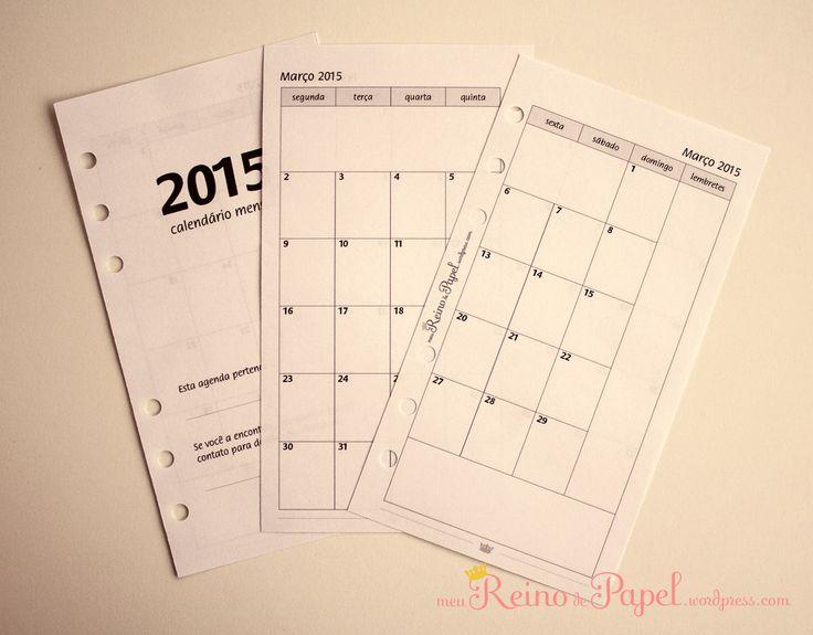 Agenda calendário mensal em duas paginas imprimível printable gratuito grátis monthly planner insert free Filofax Tilifax Maiofax Redfax Kikki-K