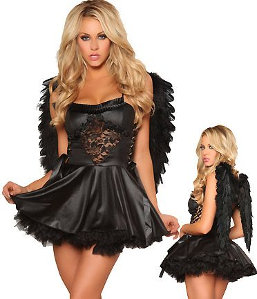 Dark Celeste  Dark Angel Costume includes Dress with Ruffles, Roses and Lace-up Details on Sides