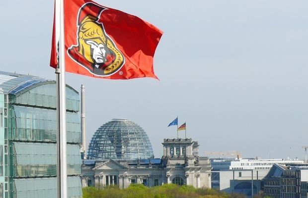 Ottawa Senators flag over the Canadian Embassy in Berlin.