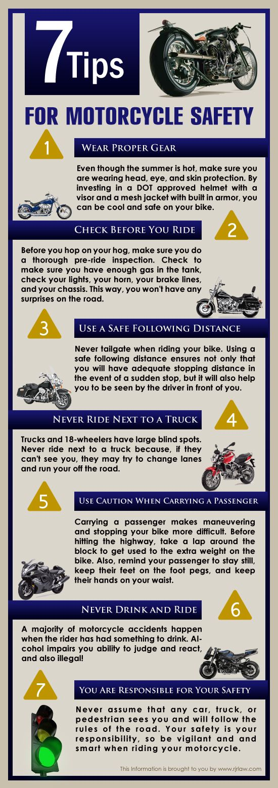 How to Be Safe on a Motorcyle  Infographic: tips for motorcycle safety