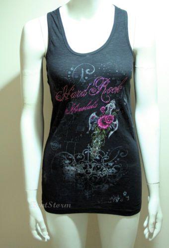 Hard-Rock-Cafe-Honolulu-Hawaii-Tank-Top-Blouse-Tee-Shirt-Guitar-Black-Pink-Beads