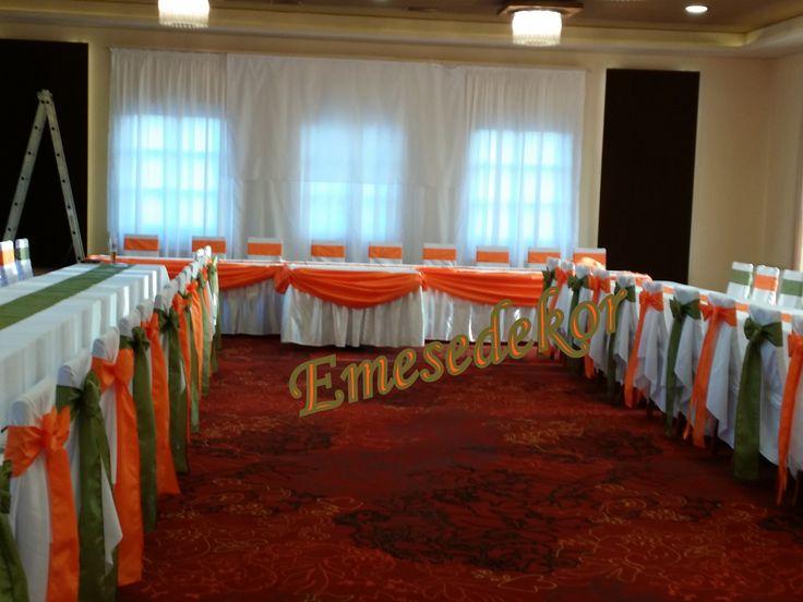 Narancs-Zöld esküvői dekoráció