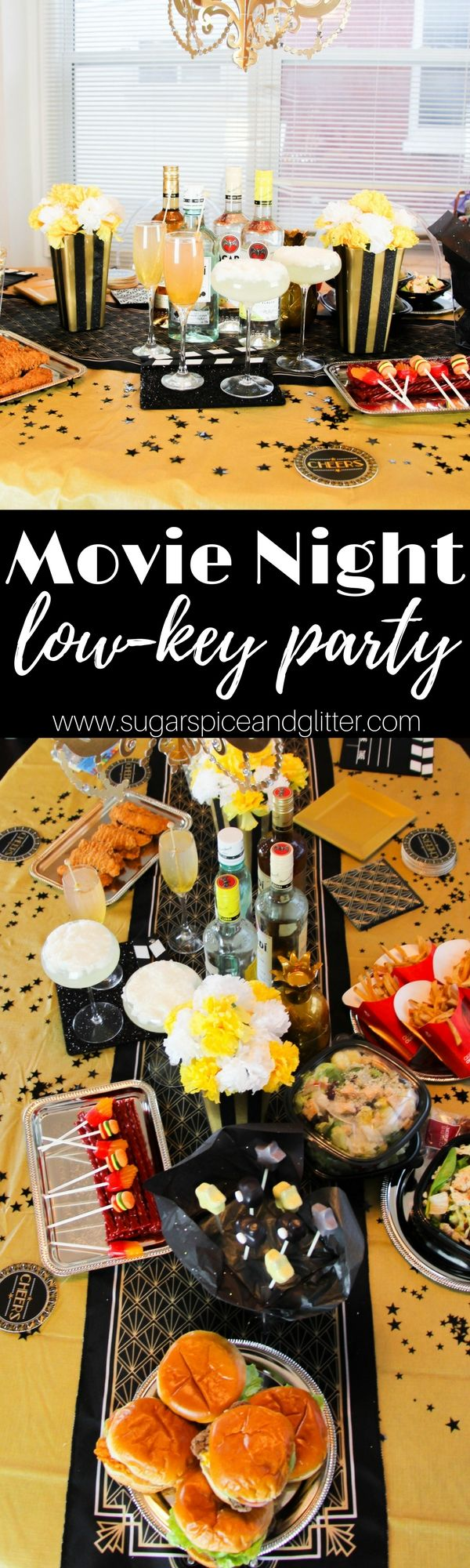 Msg 4 21+ Movie Night Party for Grown-ups - a low-key movie night with serious glam factor. Check out our tips for an impressive party with minimal effort, including no-bake burger cookies and two delicious #cocktails #SignatureSips ad