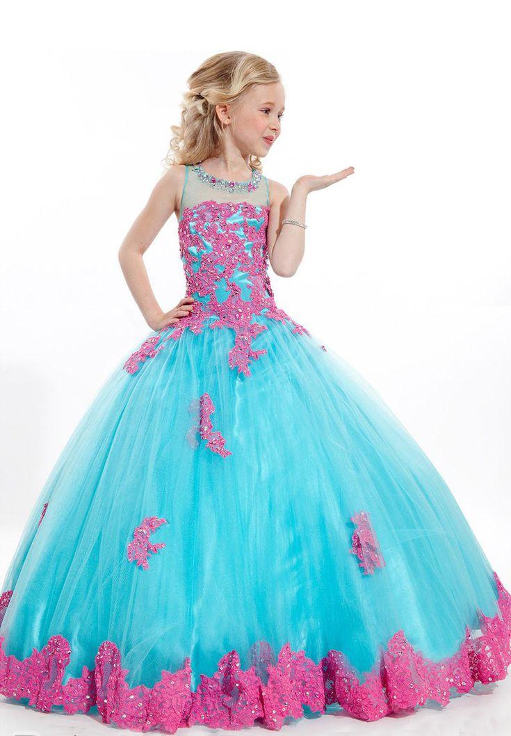 Pas cher Perles Tulle rouge Applique broderie filles Glitz Pageant robes Little Girls robe magnifique Pageant robes pour 12 ano de, Acheter  Robes de qualité directement des fournisseurs de Chine:            Bienvenue à notre magasin :)                                              &nbs