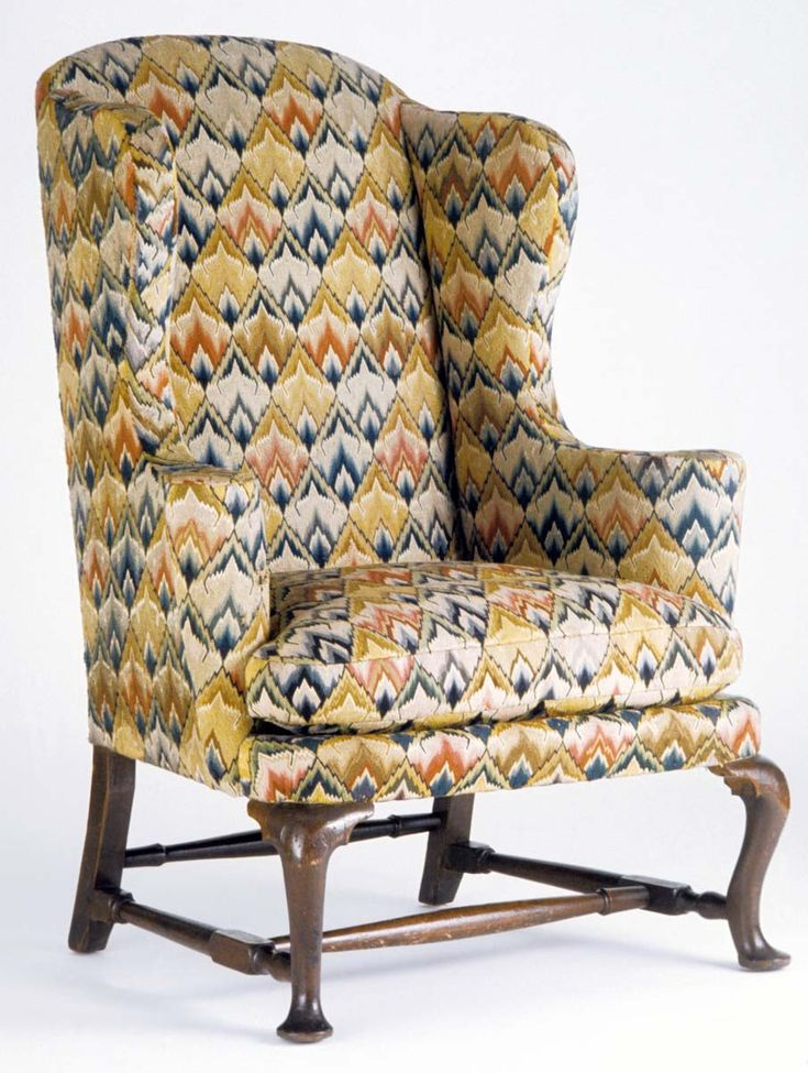 Flame Stitch Believed To Be From US Woven Fabric On Back, France This Chair  Was Upholstered After 1930 And Original Stuffing Material Was Replaced With  New ...