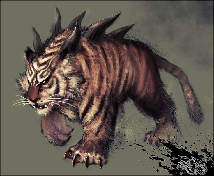 It's a fantasy tiger creature, sure. But so cool! inspi bestiaire - Bog+tiger+by+ilison.deviantart.com+on+@deviantART