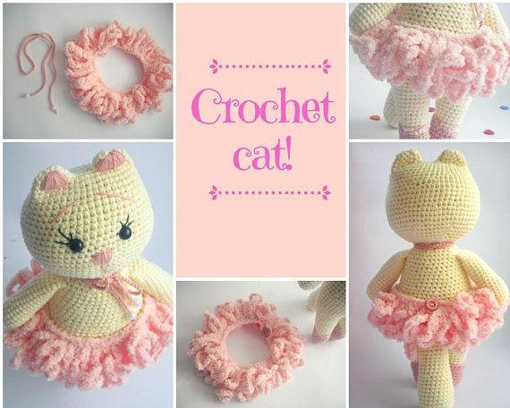Crochet Cat Ballerina Doll Cat Amigurumi Crochet Animal Hat Handmade Cat Crochet Kitty Stuf Bonecas De Croche Amigurumi De Animais De Croche Receitas De Croche