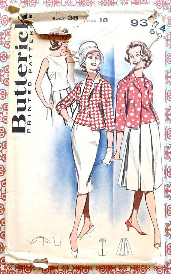 Butterick 9374 - Vintage 1960s Womens Coordinates Pattern with ...