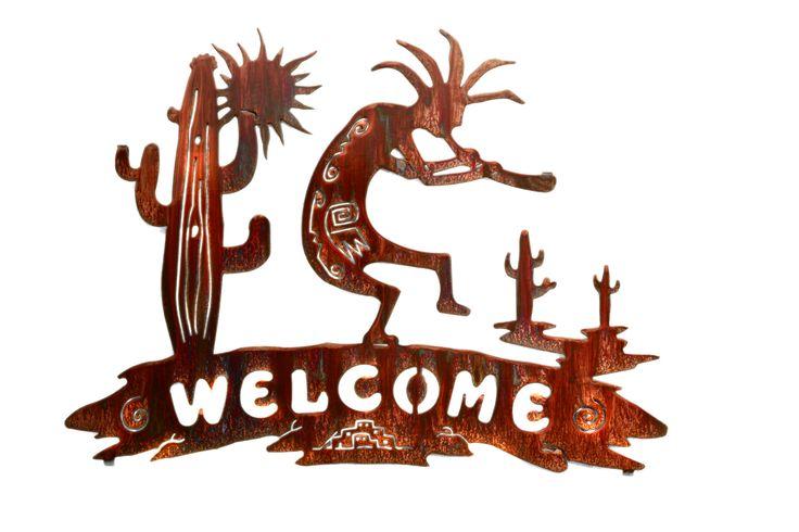 Kokopelli And Cactus Welcome Metal Wall Art