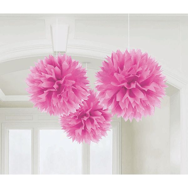 Pink Fluffy Tissue Decorations 16in 3ct