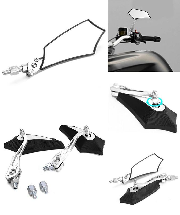 [Visit to Buy] Pair rearview mirrors for motorcycle Scooter mirror screws 8mm 10mm M8 M10 silver black shape Pentagon #Advertisement