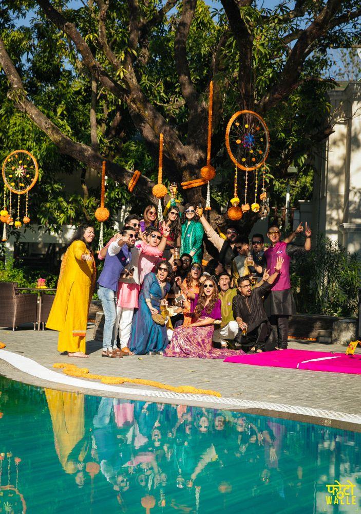 Mehendi Decor - Marigold Hanging Dreamcatchers as Mehendi Decor | WedMeGood  #wedmegood #indiandecor #mehendidecor #marigold #dreamcatchers #decor #diy #genda