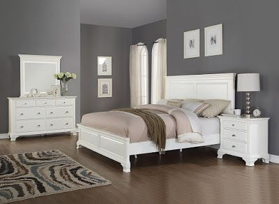 Roundhill Furniture Laveno 012 White Wood Bedroom Furniture Set -Wood bedroom series with contemporary styling, finished in white -Collection includes 1 queen size bed, Headboard: 66 X 3 X 57''H, Footboard: 66 X 3 X 19''H, R:82 X 1 X 13''H Master Bedroom Idea on budget for couples.White Color Scheme Modern