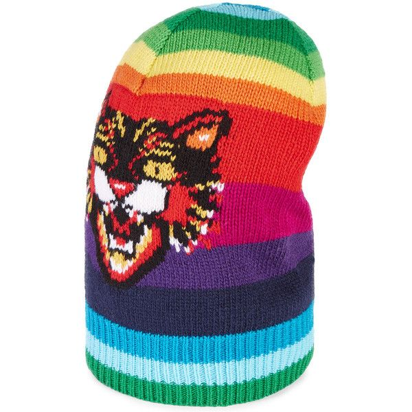Gucci Striped Wool Hat with Angry Cat ($680) ❤ liked on Polyvore featuring men's fashion, men's accessories, men's hats, men's accessories hats, multi, mens wool hats, gucci mens hat and mens hats