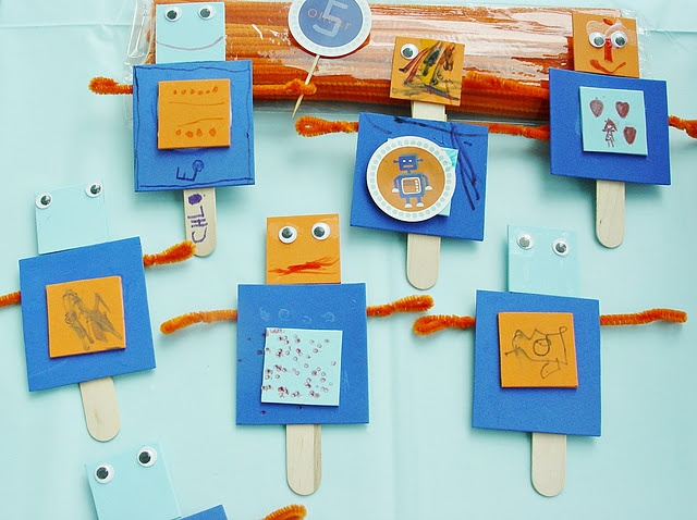 Make your own robot on a stick craft. Babysitting bag