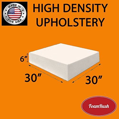 "FoamRush 6"" x 30"" x 30"" Upholstery Foam Cushion High Density (Chair Cushion Square Foam for Dinning Chairs, Wheelchair Seat Cushion Replacement)"