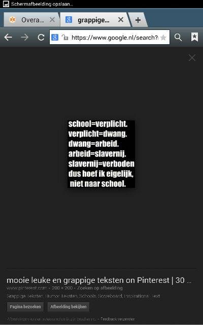 School is verplicht, verplicht is dwang, dwang is arbeid, arbeid is slavernij, slavernij is verboden dus hoeven we eigenlijk niet naar school! ;)
