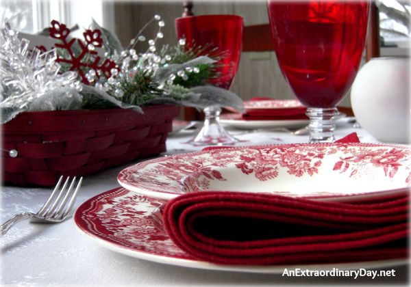 Pretty Red Winter Table Setting.........Red Transferware Table Setting | AnExtraordinaryDay.net