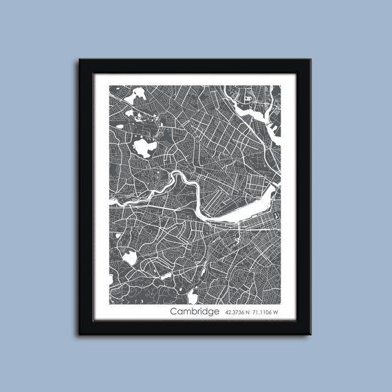 Cambridge map Harvard map Cambridge wall art by WaldoRoadStudio