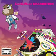 Kayne West: Graduation, cover by Takashi Murakami. West collaborated with Japanese contemporary artist Takashi Murakami to oversee the art direction of Graduation as well as design the cover art for the albums accompanying singles.[55] Often called the Warhol of Japan, Murakamis surrealistic visual art is characterized by cartoonish creatures that appear friendly and cheerful at first glance, but possess dark, twisted undertones