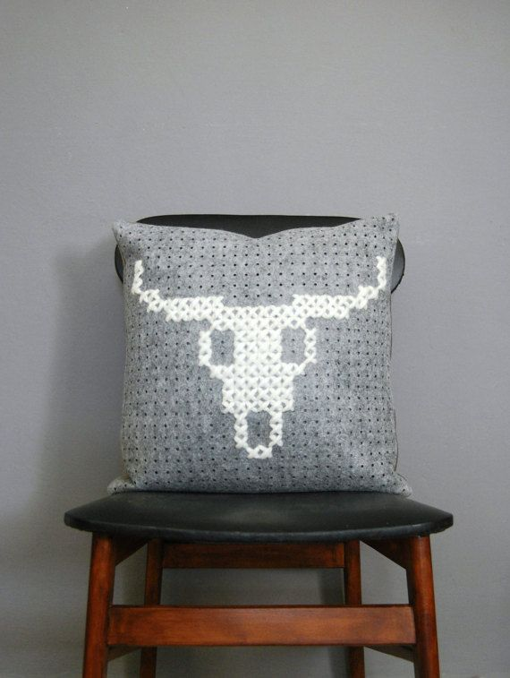 Buffalo Cow Bull Skull cross stitch Throw Pillow by DeliriumDecor