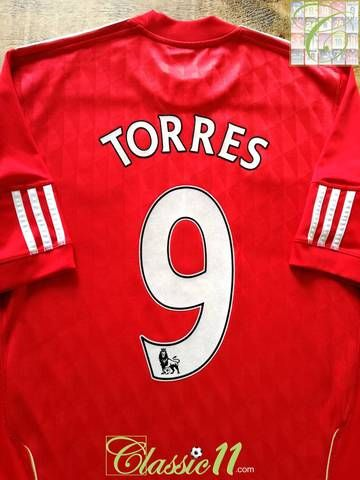 81088baea Official Adidas Liverpool home football shirt from the 2010 11 season.  Complete with Torres  9 on the back of the shirt in original Lextra Premier  League ...