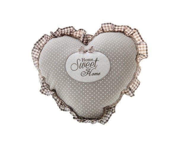 14,00 € - Cuscino Cuore Home Sweet Home, stile Shabby Chic, realizzato in stoffa, simpatica idea per bomboniera matrimonio, cm. 38x38.