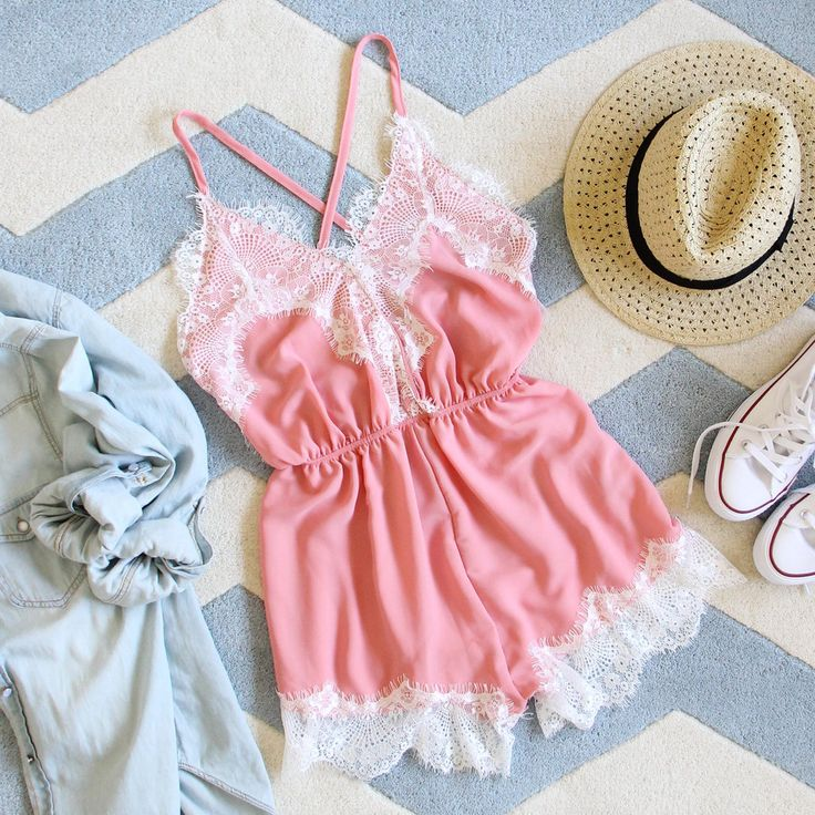 Le Fleur Lace Romper... Flirty lace pairs perfectly with a denim shirt & fedora for spring & summer.