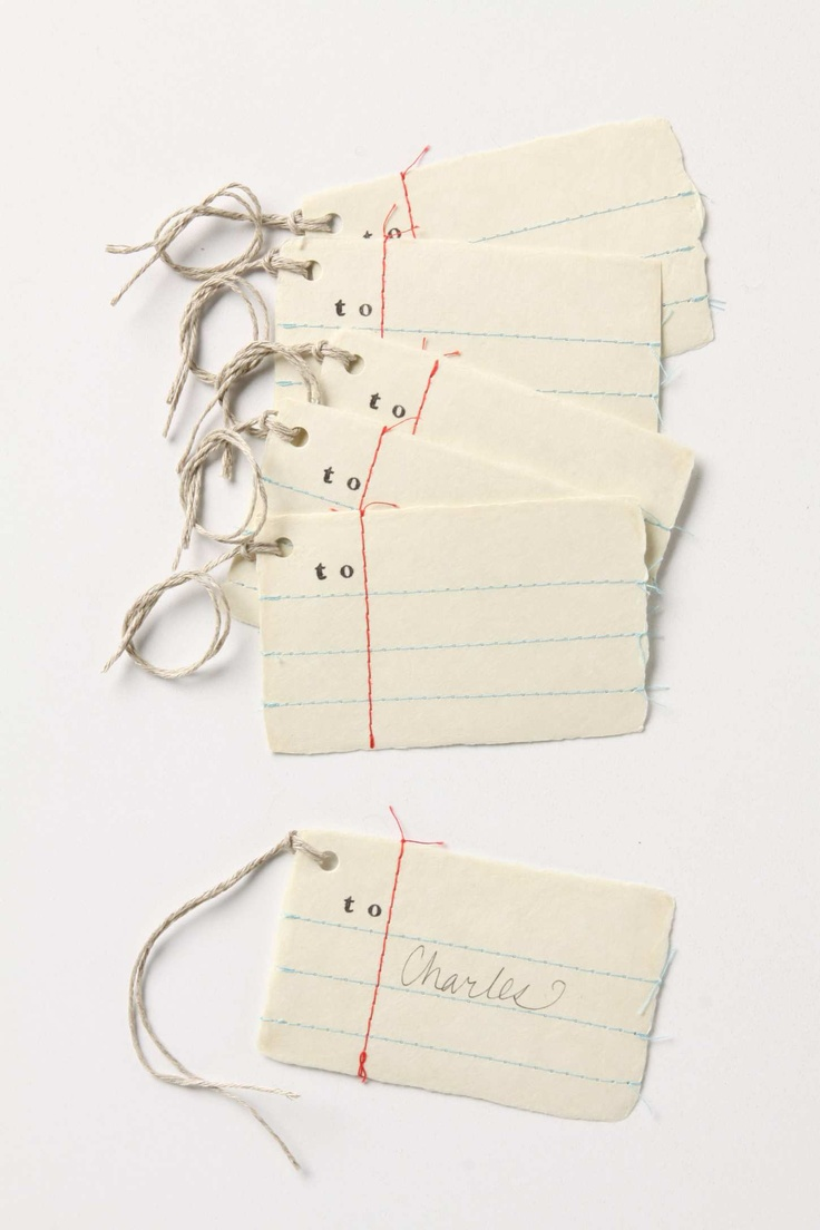 Anthropologie stitched gift tags: Teacher Gifts, Penmanship Gifts, Gifts Cards, Handmade Tags, Paper Gifts, Paper Tags, Gifts Wraps, Diy Gifts, Gifts Tags