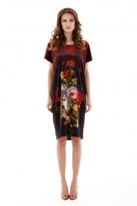 FLORAL VELVET OBLONG DRESS