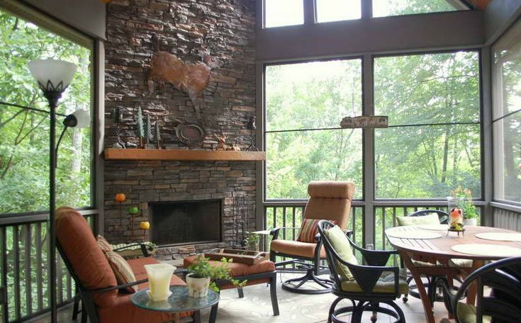 screened in porch ideas   Ideas : Screened In Porch Ideas With Fireplace And Dining Room Tables ...