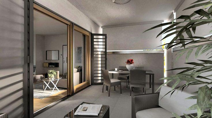 """Progetto di arredamento 3D patio esterno cha """"dialoga"""" con gli interni protetto dalle tende verticali."""