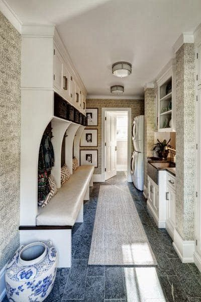 Back hallway mudroom / laundry combo... sans the padded bench