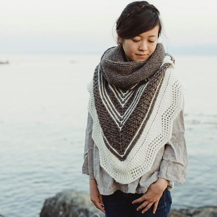 I just can't get over how cozy and beautiful this Haro shawl is. It's designed by @soveryshannon and knit up in @hinterland_textiles, both island gals. I can't wait to try this on at Knit City #knitting #canadianknitdesigner #Vancouver #vancouverisland