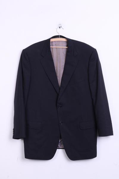 Corneliani Mens 58 XL Blazer Top Suit Black Wool Super 120s - RetrospectClothes