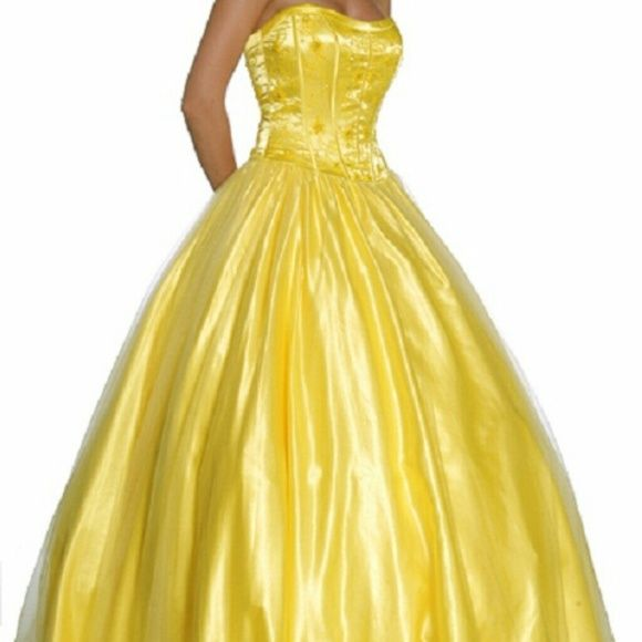 Yellow Prom Dress Stunning!! Wore once for my prom. In excellent condition!! Be the belle of the ball! Dresses Strapless