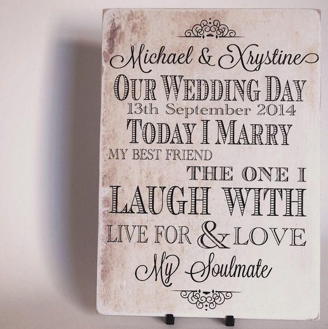 Our Wedding Plaque Medium Personalised A4 Sign