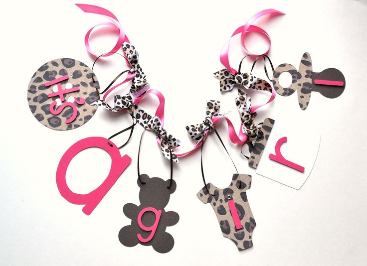 Hot Pink And Leopard Baby Shower Decorations Itu0027s A Girl Banner With Bows  By ParkersPrints On