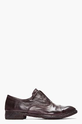OFFICINE CREATIVE Dark Brown Leather Layered collar Laceless Oxfords