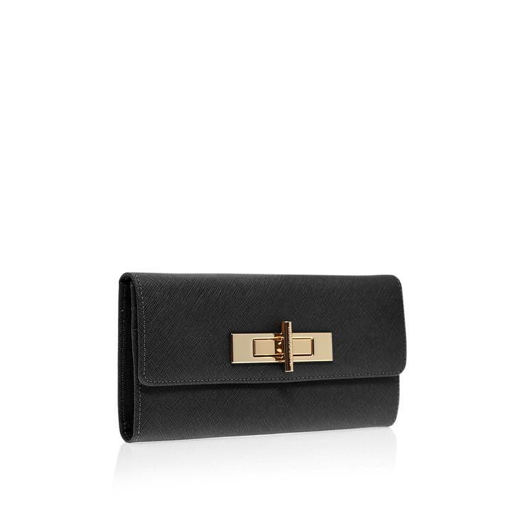 saffiano lock wallet, black accessory by kurt geiger london -
