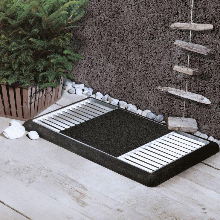 CUBIC Paillasson design 1 grille de 80x40cm avec tapis coco coeur rouge en fer galvanisé encastrable