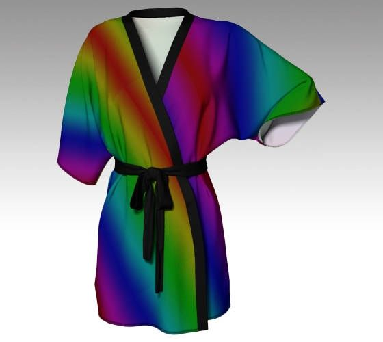 Rainbow Kimono, Kimono Robe, Draped Kimono, Dressing Gown, Rainbow Robe, Beach Coverup, Bridesmaid Robe, Lounge Wear, Swimsuit Coverup, Gift by LaineyDesigns on Etsy