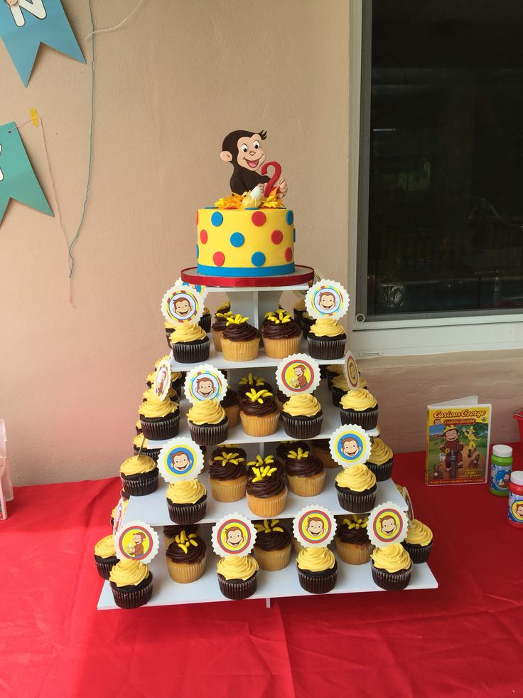 Curious George Cake and Cupcakes with toppers