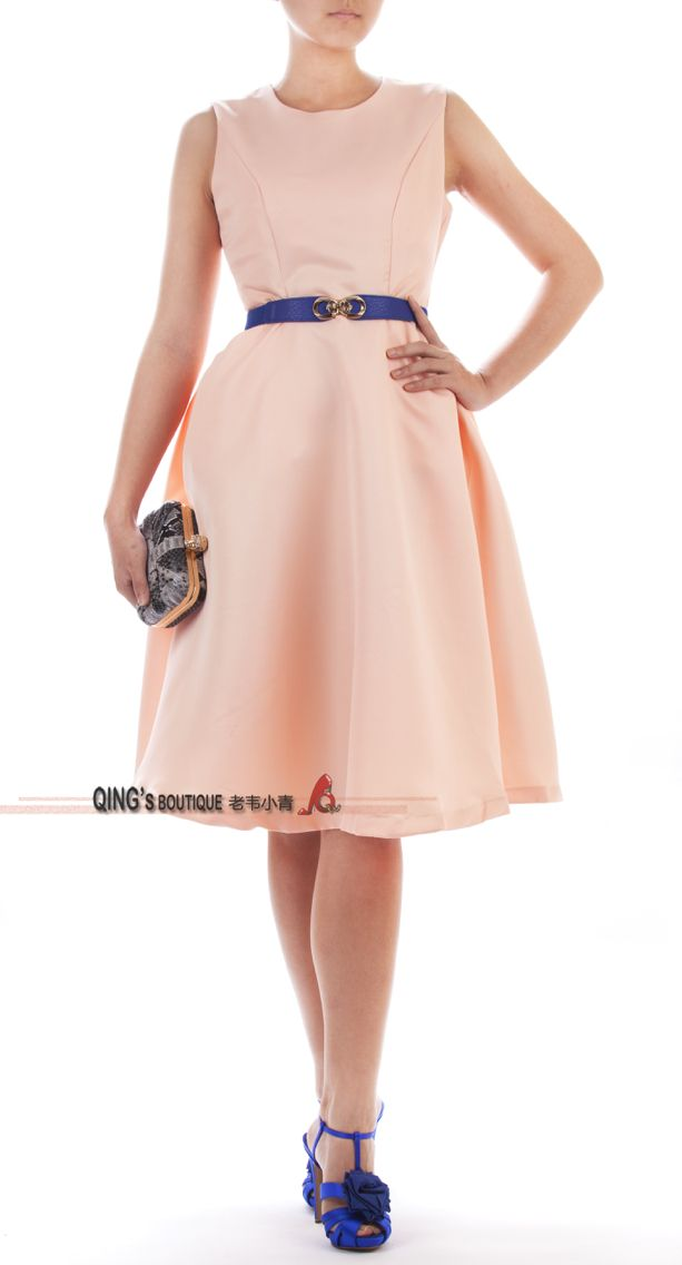 Fit and flare dress in peach