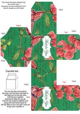 DGreen Colour Sweet Peas Single Cupcake Presentation Box on Craftsuprint - Add To Basket!