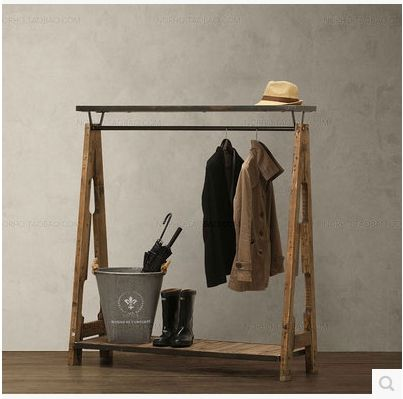 128£ Wood to do the old retro clothing racks display clothing rack hangers wrought iron coat rack clothing store shelf-in Dining Tables from Furniture on Aliexpress.com | Alibaba Group