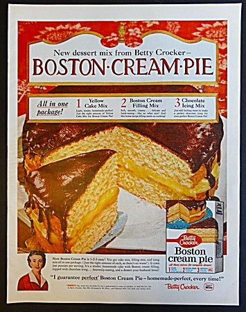 Betty Crocker Boston Cream Pie Cake Mix Ad 1958