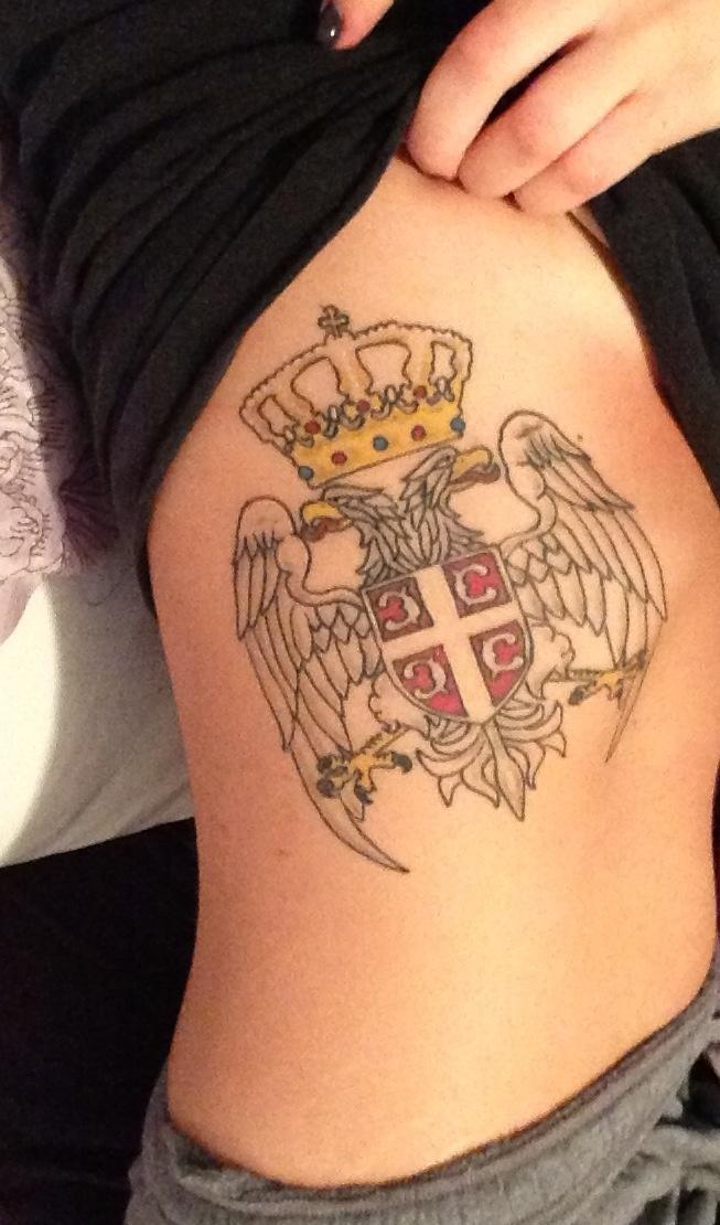 Serbian crest tattoo on ribcage srbija i wonder if deda for Tattoo shops belgrade mt