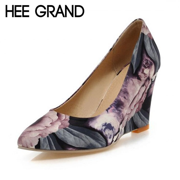 HEE GRAND Floral Wedges Elegant High Heels Platform Shoes Woman Slip On Sexy Pumps Pointed Toe Women Shoes Size 35-42 XWD4267