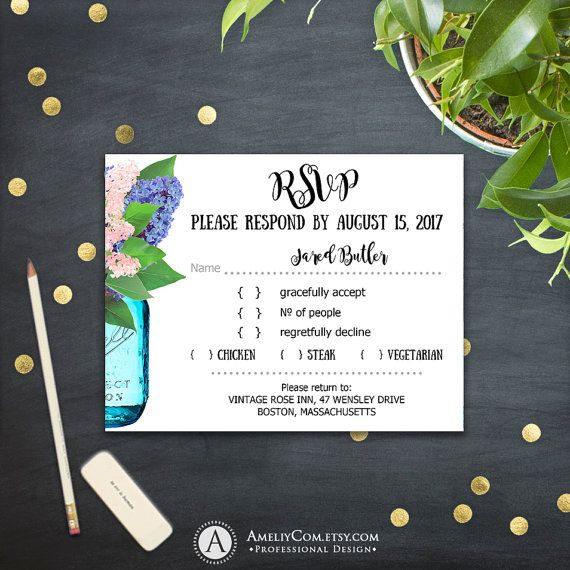 Printable RSVP Card Rustic Mason Jar & Violet Lilac Сountry Wedding Reply Card PDF Response Card Instant Download EDITABLE PostCard Template